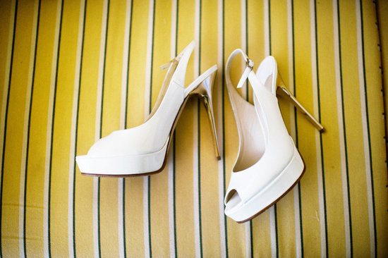 White peep toe wedding shoes with gold heels