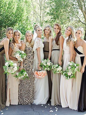 photo of mix and match bridesmaids dresses