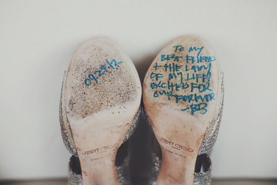 Love notes on bottom of brides wedding shoes Jimmy Choo