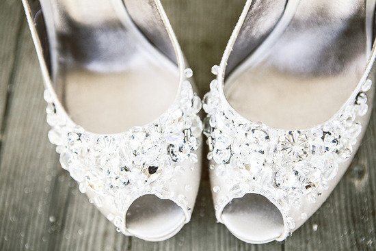 Crystal and pearl encrusted wedding shoes