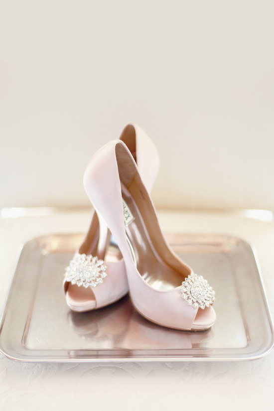 Pastel pink wedding shoes with vintage inspired brooches