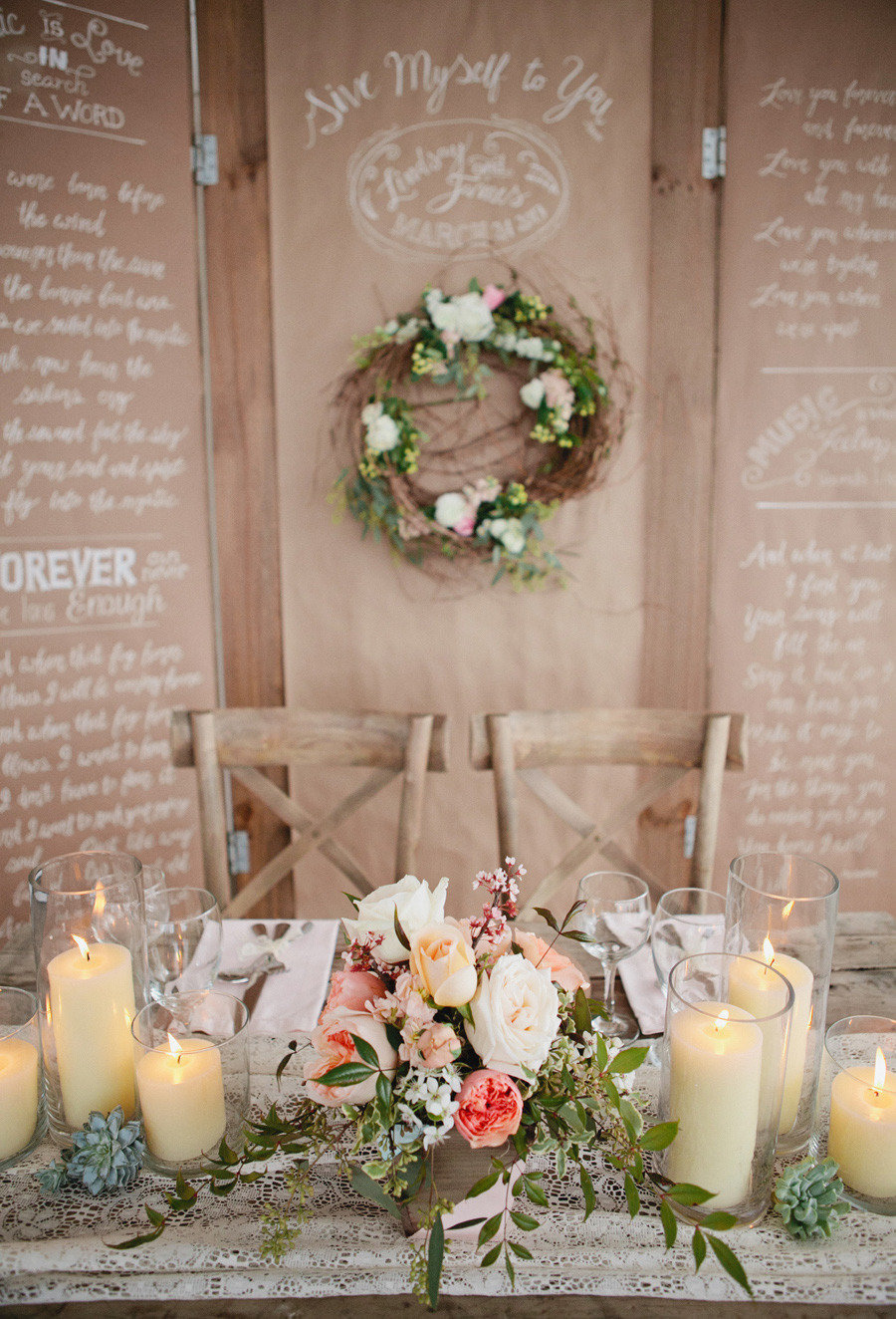 Rustic elegance wedding reception sign tan and white