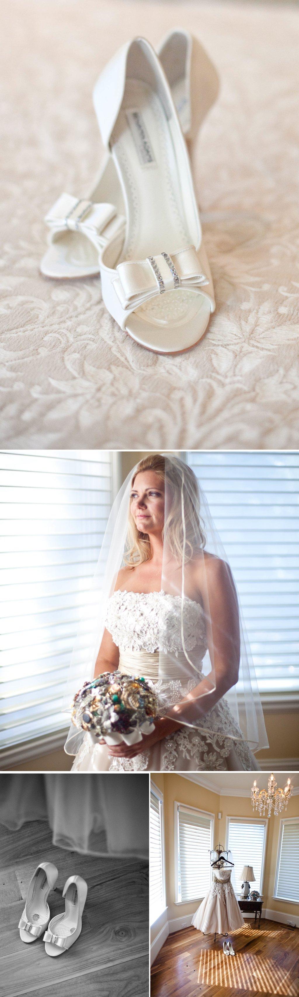 Elegant-bride-vintage-inspired-tea-length-wedding-dress-open-toe-wedding-shoes.full