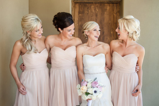 Sweetheart neckline long bridesmaid dresses in soft nude