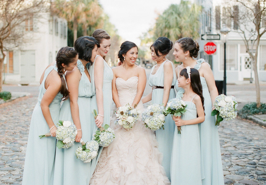 pastel seafoam bridesmaid dresses for summer