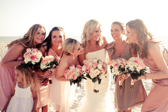 mauve mix and match bridesmaids beach wedding