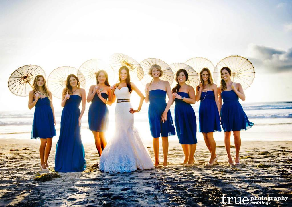 Deep blue mix and match bridesmaid dresses beach weddings for Wedding dress for beach ceremony