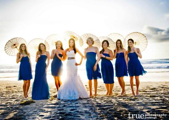 Deep blue mix and match bridesmaid dresses beach weddings