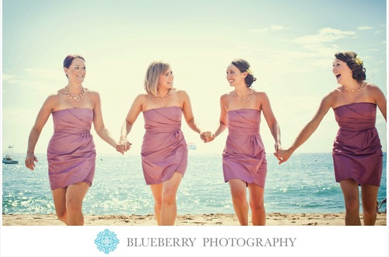 Short strapless bridesmaid dresses in mauve pink