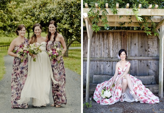 romantic floral print bridesmaid gowns long