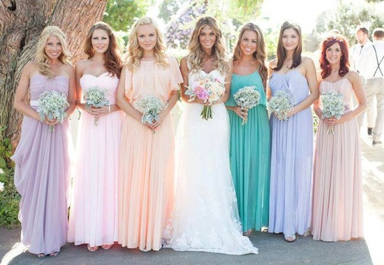 Pastel mix and match bridesmaids long gowns peach blush aqua lilac