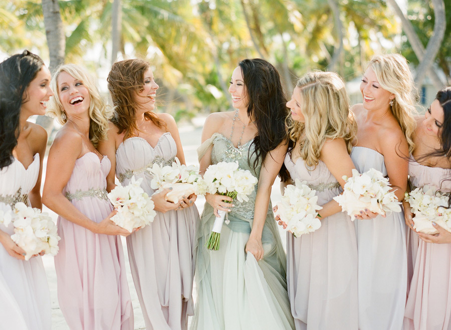 Muted pastels assorted bridesmaid dresses beach wedding