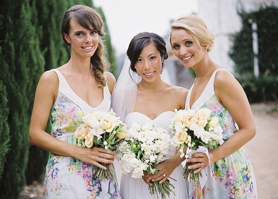 floral print bridesmaid dresses real wedding inspiration