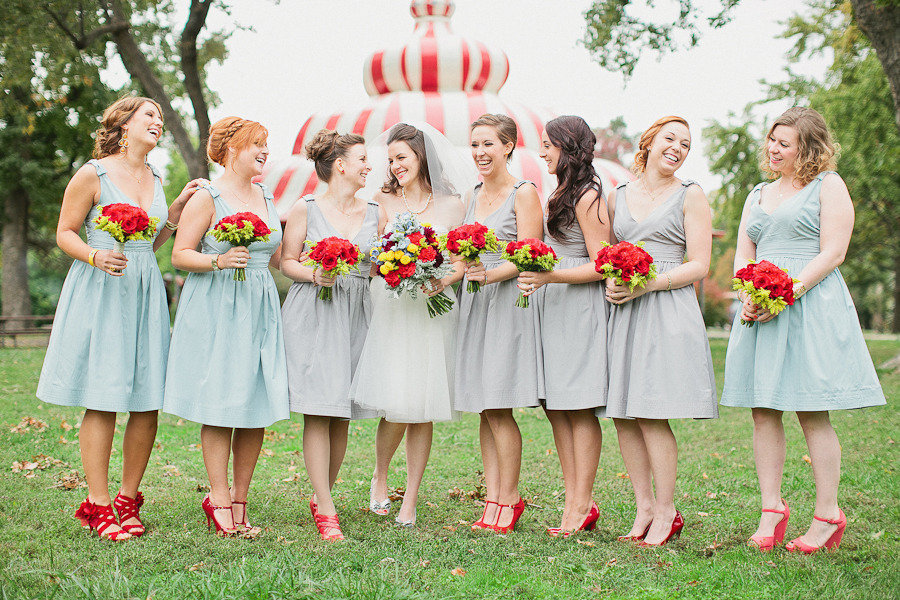 retro carnival wedding summertime bridesmaid style