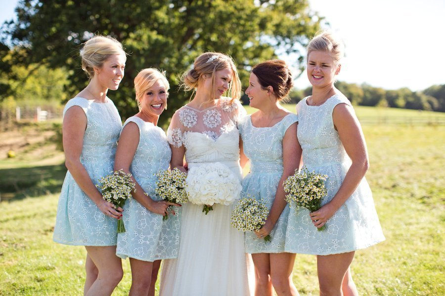 sky blue short bridesmaid frocks for summer I Dos