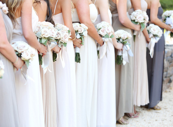 elegant long bridesmaid dresses in white taupe and gray