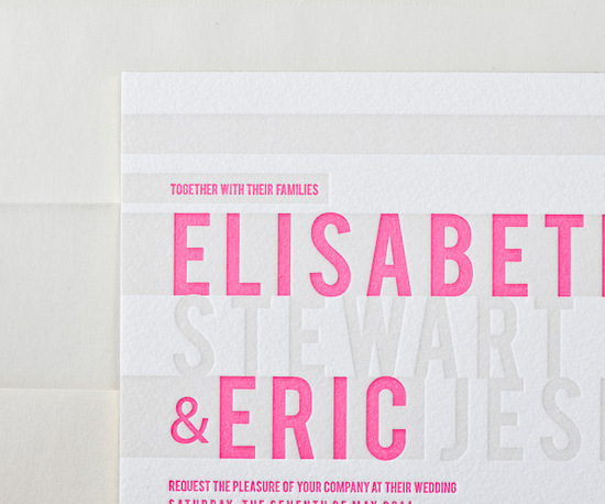 bright pink grey letterpress wedding invitations