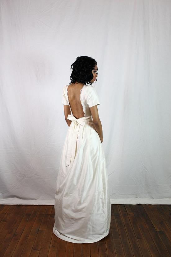 Open Back Wedding Dress with Short Sleeves