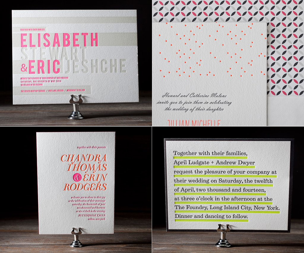 letterpress wedding invitations bright neon colors pink green