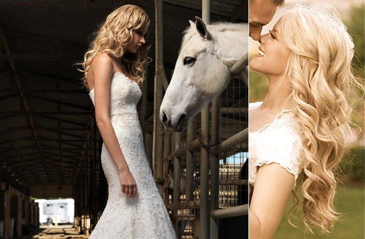 Long Loose Curls Wedding Hairstyle
