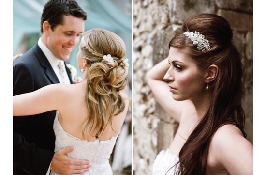 long wedding hairstyles half up