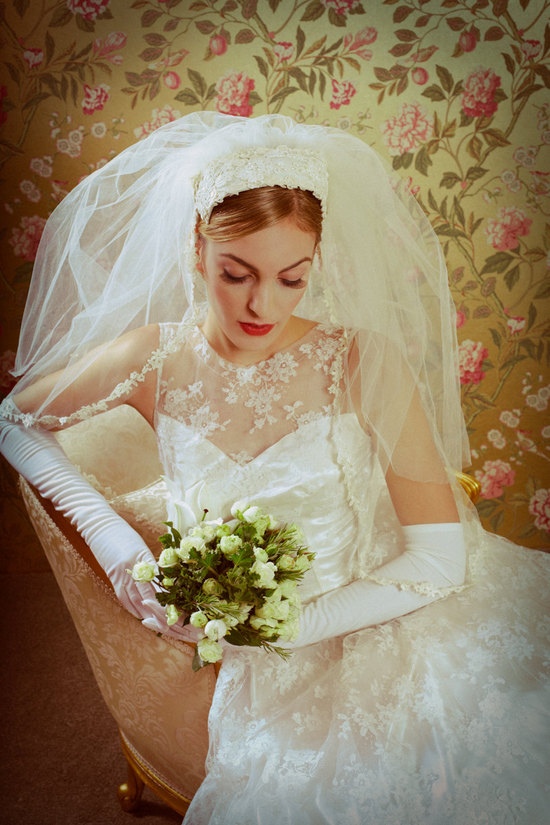 photo of Vintage lace wedding dress with illusion neckline