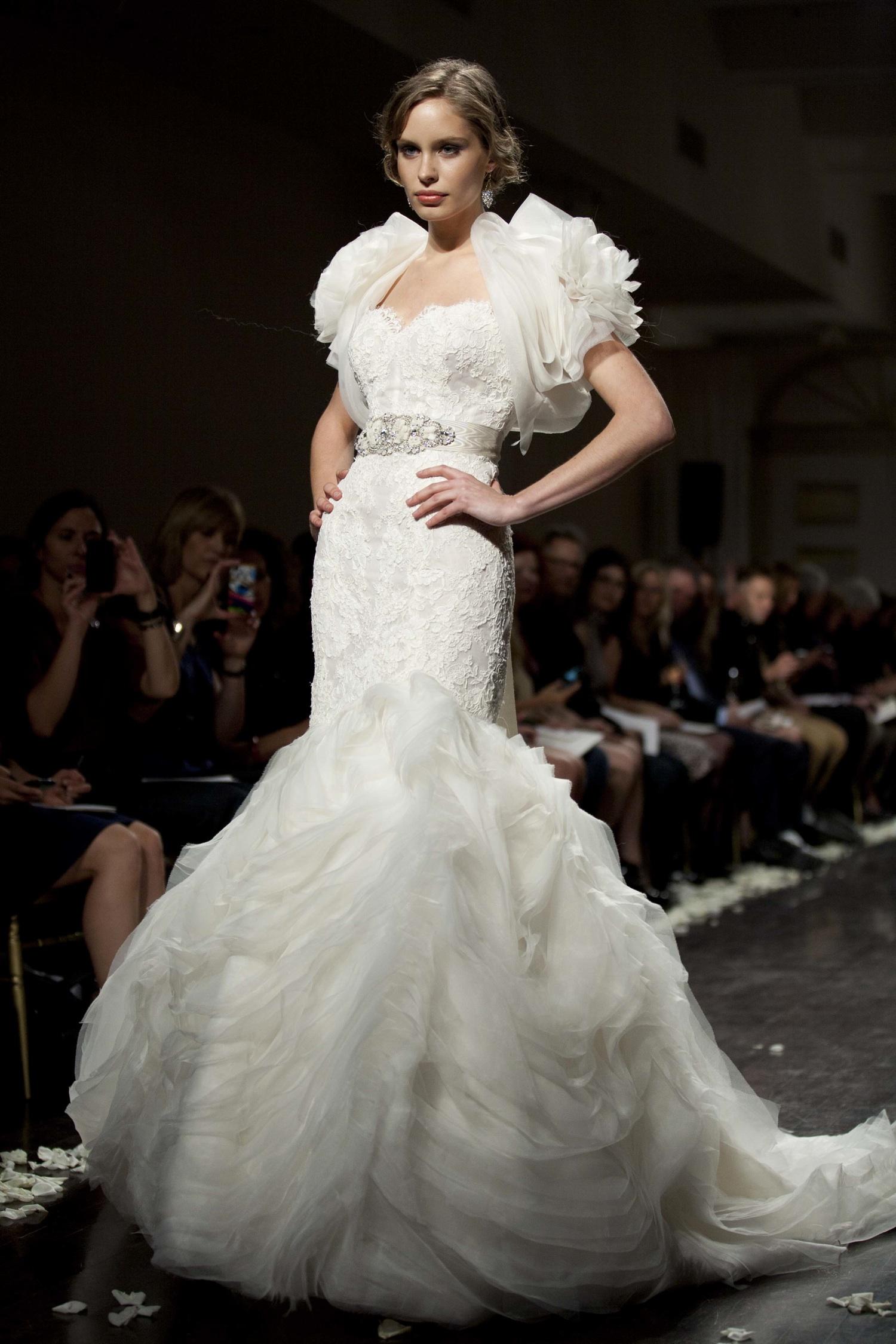 2012 wedding dress lazaro bridal gown mermaid bolero
