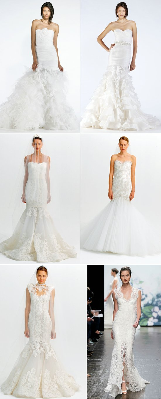 2012 wedding dresses mermaid bridal gown monique lhuillier marchesa oscar de la renta