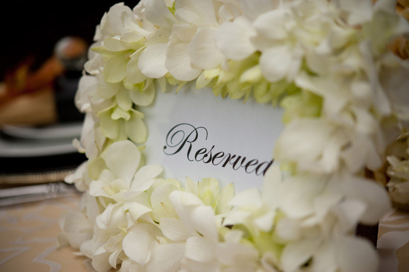 Wedding sign framed with ivory hydrangea