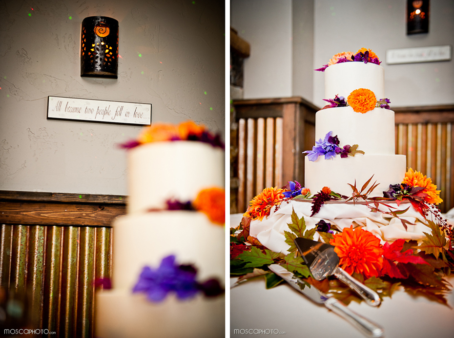 real wedding fall reception wedding cake