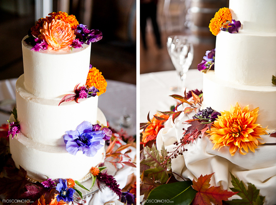 photo of fall wedding reception white wedding cake
