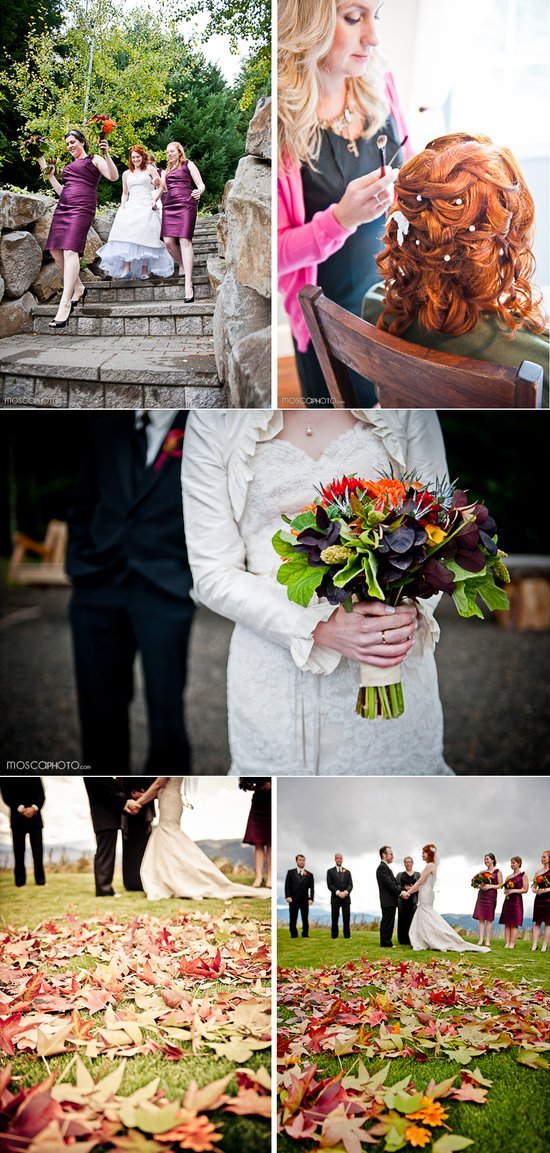 real fall wedding outdoor ceremony portland