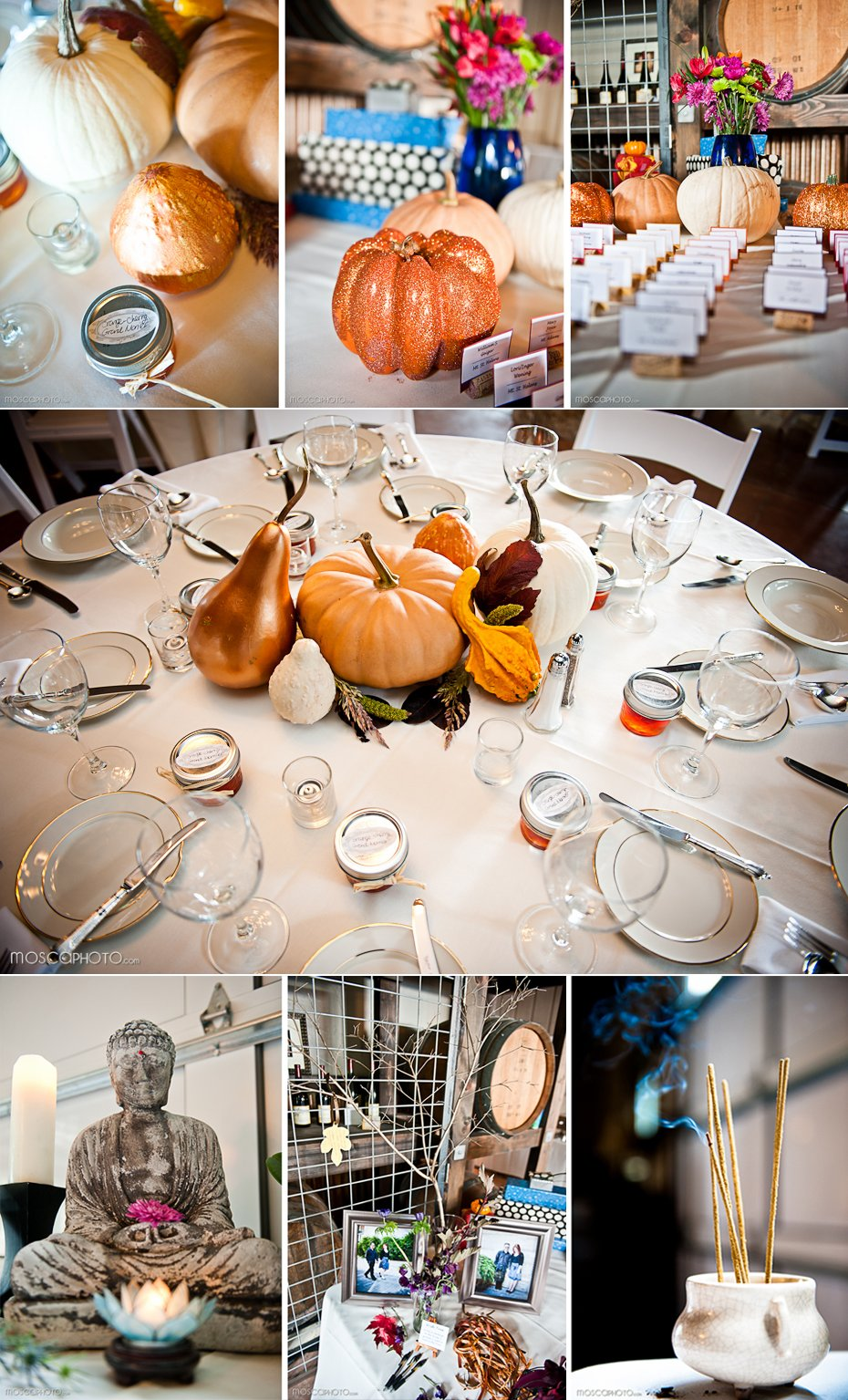 fall themed real wedding reception tables