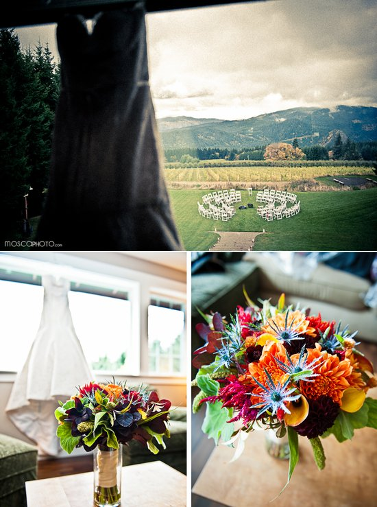colorful fall wedding portland wedding photography bridal gown trumpet