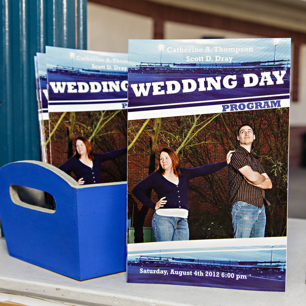 Baseball themed wedding programs for the ceremony
