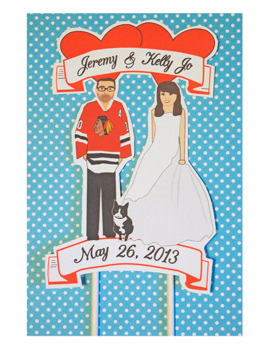 Chicago Blackhawks cute wedding cake topper