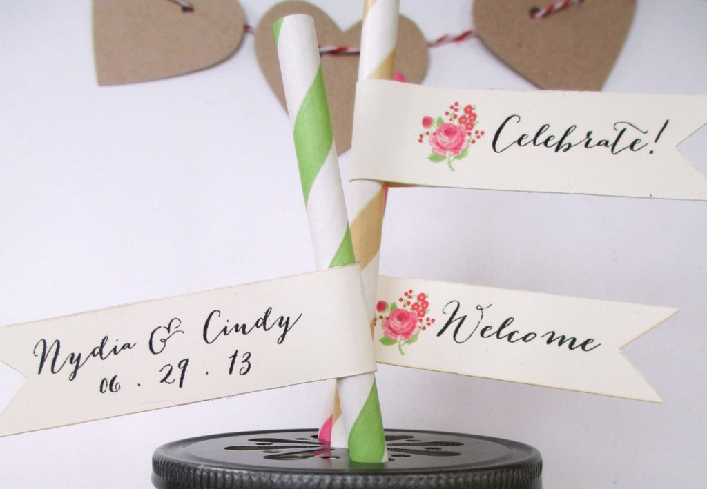 mason jar wedding favors with whimsical straw tags