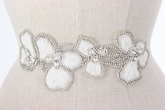 Old Hollywood inspired beaded wedding belt