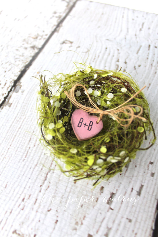 Rustic garden ring bearer nest