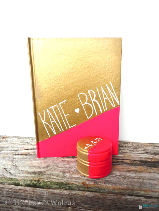 Two tone modern wedding guest book gold neon coral