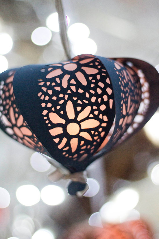 Paper cutout floral wedding lantern