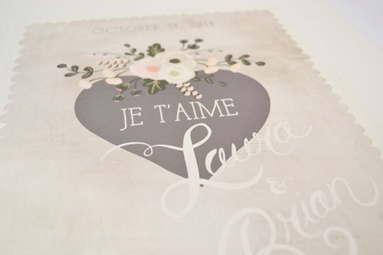 Je t aime wedding sign