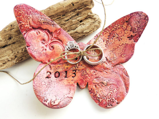Pink butterfly ring bearer dish