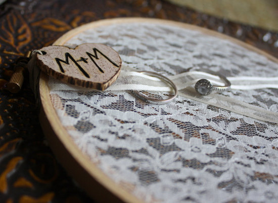 Lace hoop ring bearer pillow alternative with rustic monogram