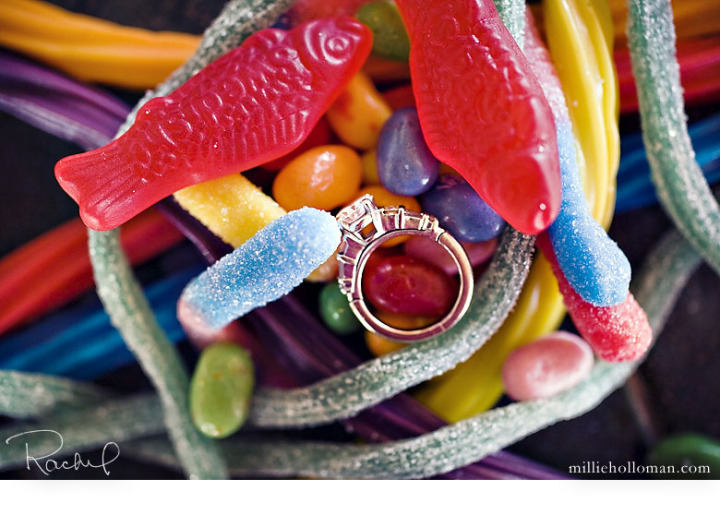 wedding reception photos engagement ring candy