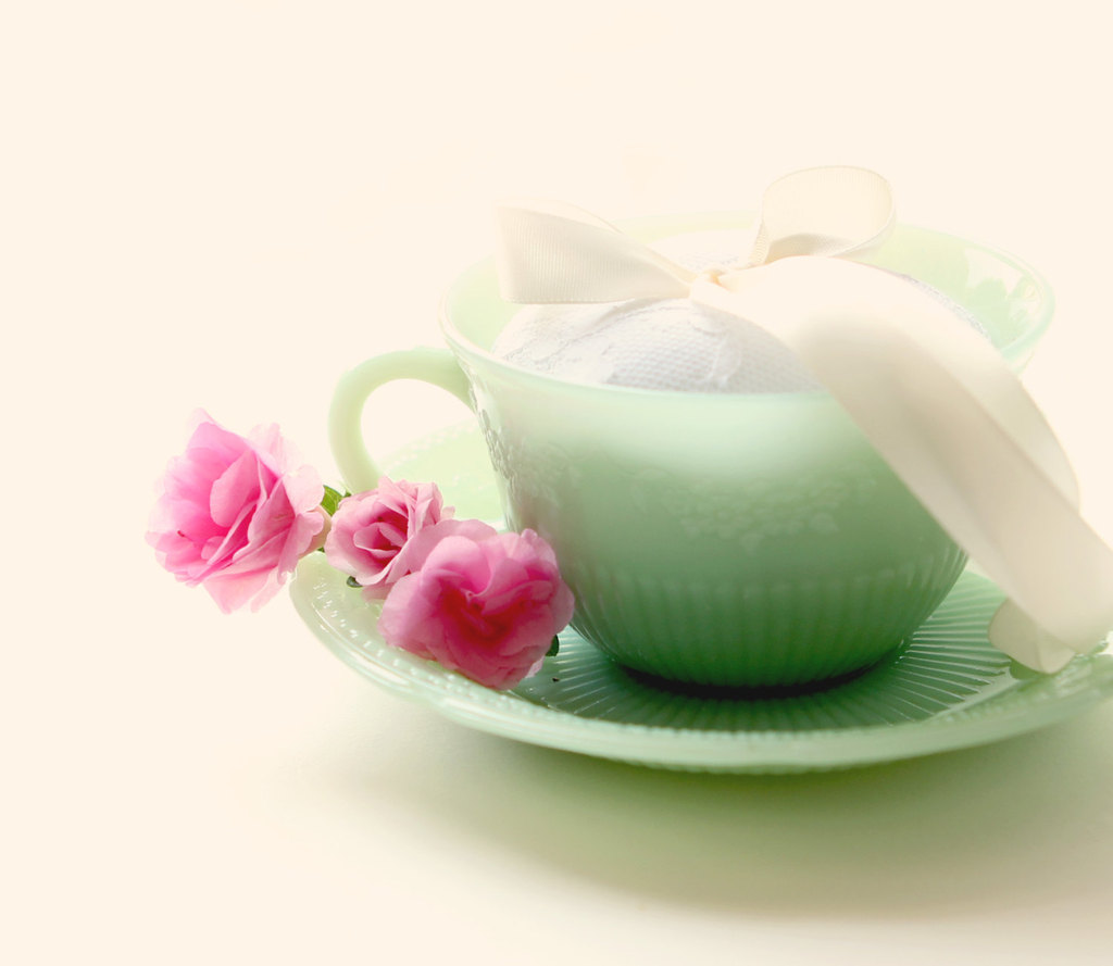 Jade teacup wedding ring bearer pillow alternative