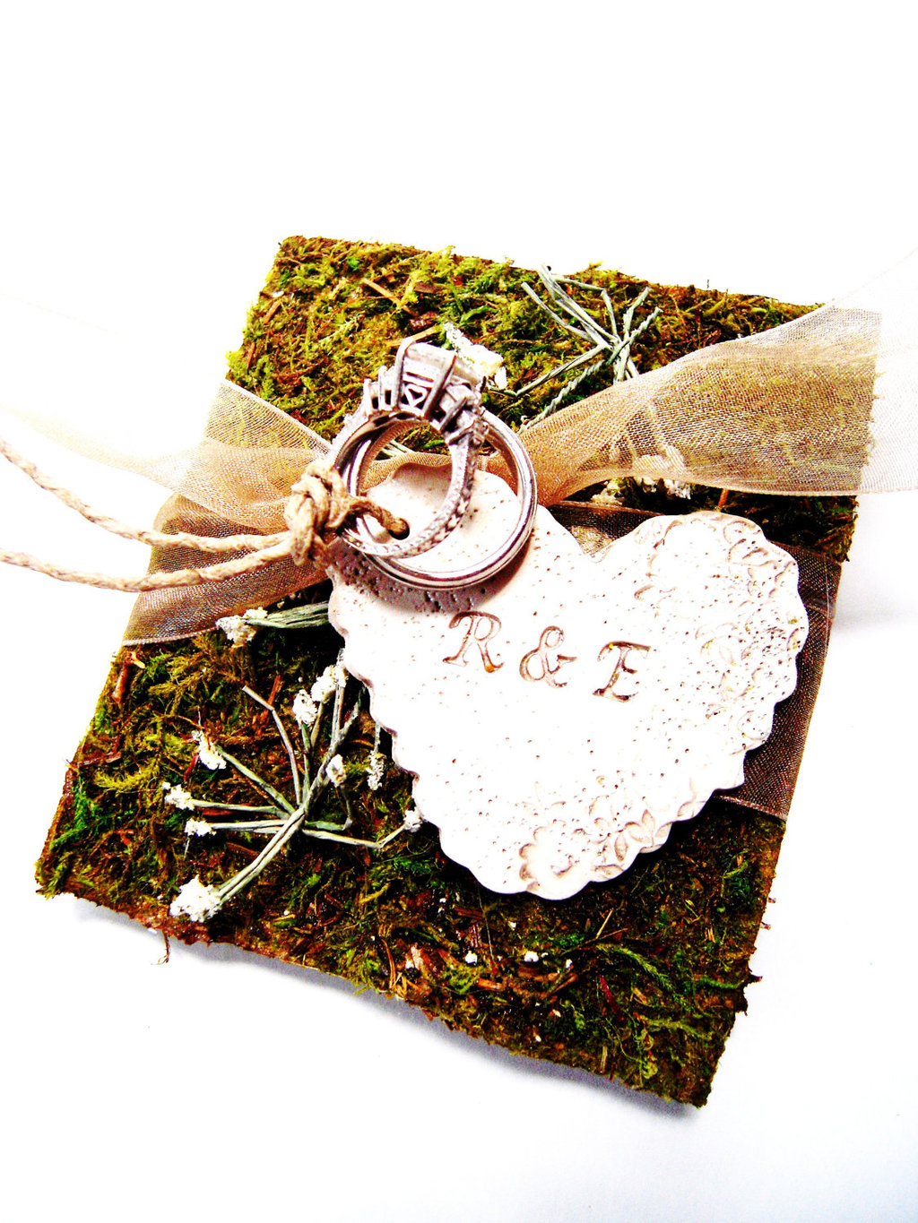 Mossy ring bearer pillow for the wedding ceremony