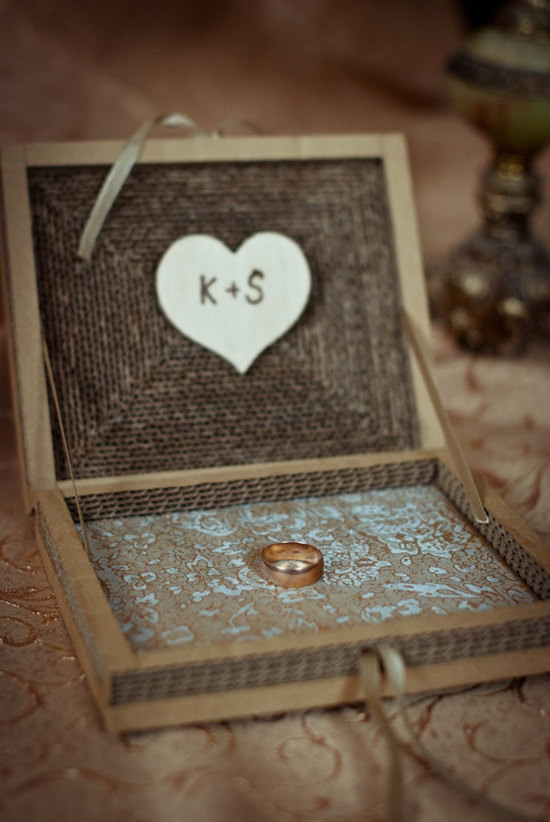 Rustic wood box for wedding ceremony ring delivery