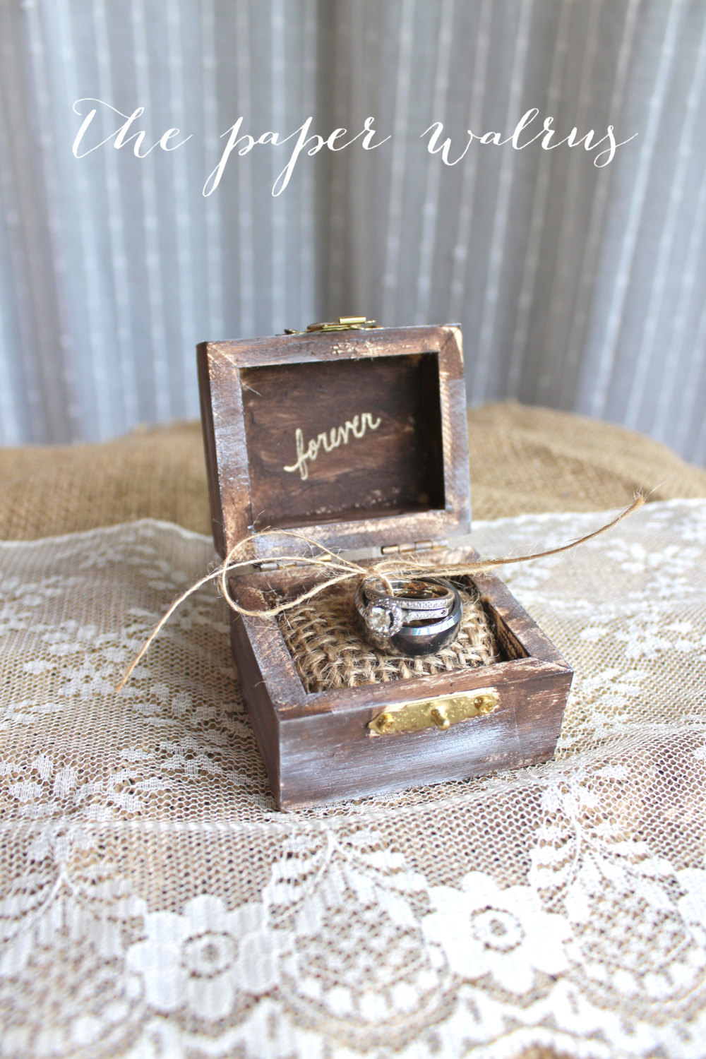Rustic wood ring bearer box with romantic message junglespirit Images