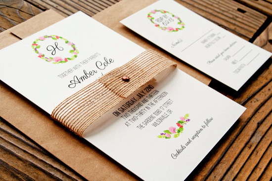 floral wreath elegant wedding invitations